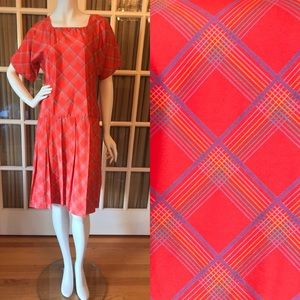 Vintage Red/Orange & Blue Plaid Short Sleeve Dress